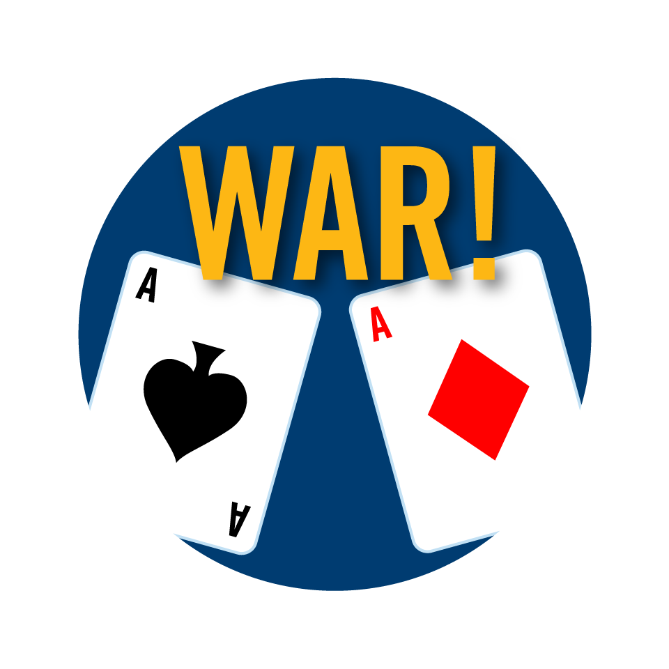 An Ace of spades next to an Ace of diamonds with the word War in between