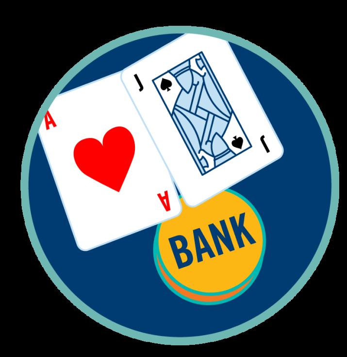 Un as et un valet à côté d'une enseigne affichant le mot « Banque ».