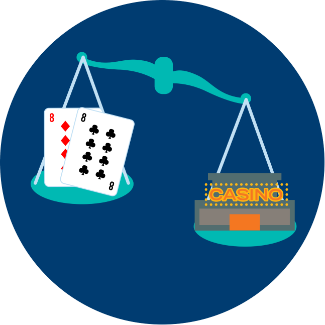 Une balance montrant un casino qui pèse plus qu'une paire de 8 : un 8 de carreau et un 8 de trèfle