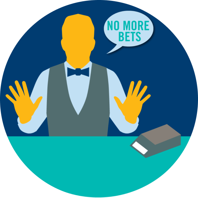 "A dealer with both his hands up and a speech bubble that says ""no more bets"""