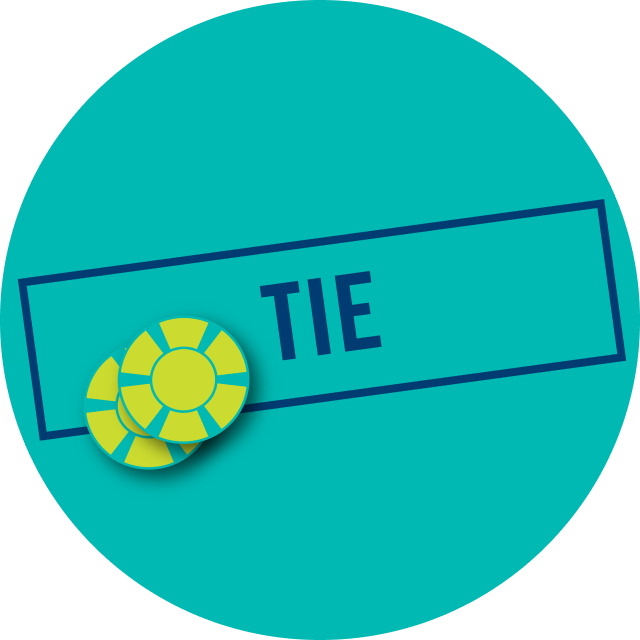 "A bar that says ""Tie"" with a casino chip"