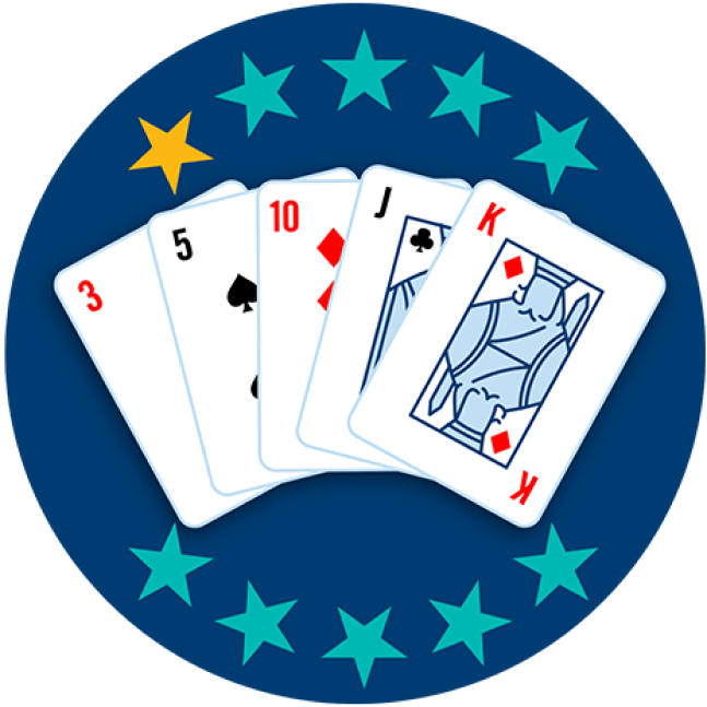 Five playing cards appear face up, showing a red 3, a 5 of Spades, 10 of Diamonds, a Jack of Clubs and a King of Diamonds. One out of 10 stars is highlighted, showing this hand ranks lowest overall.