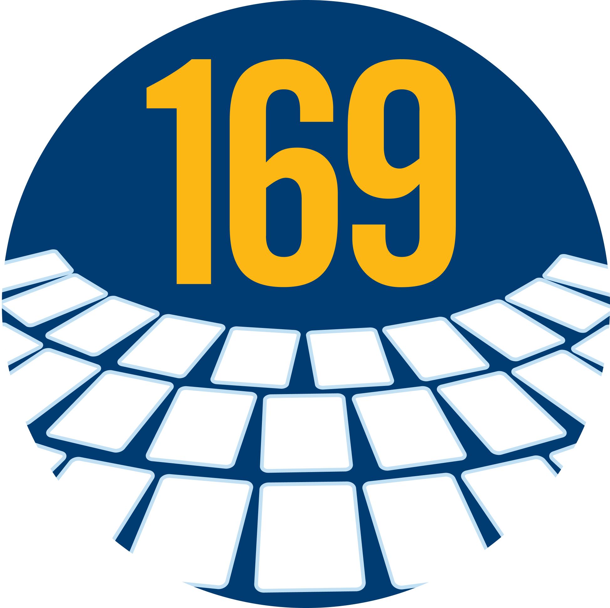 The number 169 with three rows of cards below it.