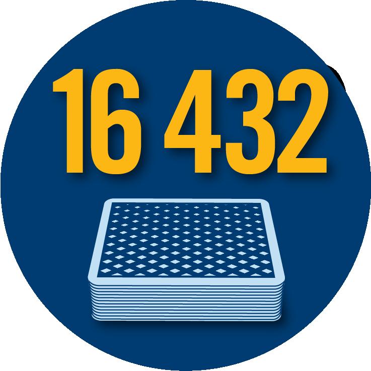 Un paquet de cartes sous le chiffre 16 432.
