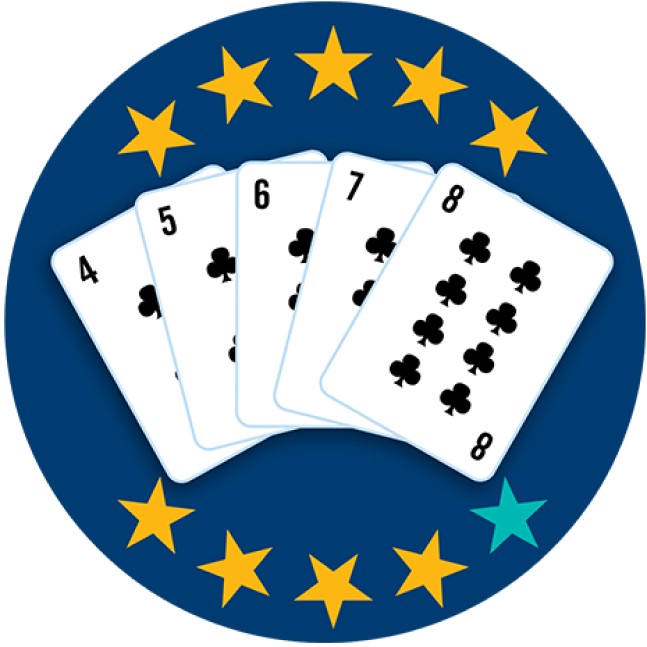Five playing cards face up, showing 4, 5, 6, 7, and 8 of Clubs. Nine of 10 stars are highlighted, showing this hand ranks second highest overall.
