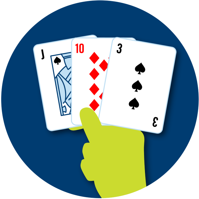 A hand holds three cards: a Jack of Spades, a 10 of diamonds and a 3 of spades.