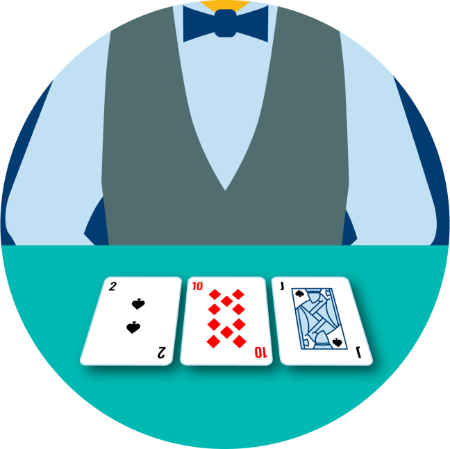 A dealer has three cards in front of them: a 2 of spades, a 10 of diamonds and a Jack of Spades.