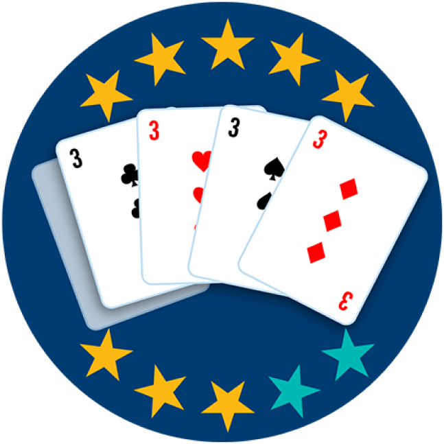 Four of 5 playing cards appear face up, showing the 3 of Clubs, 3 of Hearts, 3 of Spades, and 3 of Diamonds. Eight of 10 stars are highlighted, showing this hand ranks third highest overall.