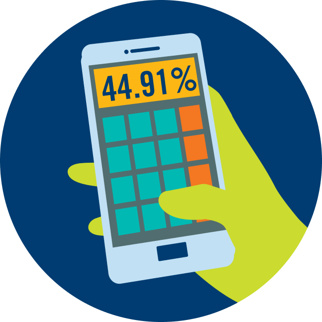 A hand holds a phone that shows a calculator on the screen. The calculator is displaying the number 44.91%.