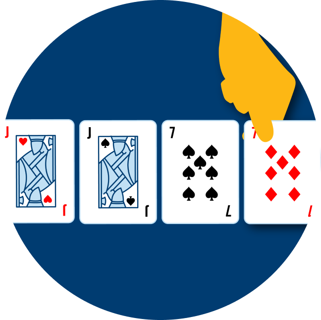 Four cards are shown turned over: a Jack of Hearts, a Jack of Spades, a 7 of spades and a 7 of diamonds.
