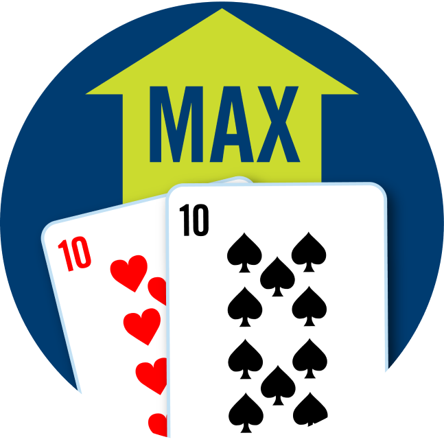 A pair of cards is shown: a 10 of hearts and a 10 of spades. Behind the cards is a green arrow pointing up with the word Max.