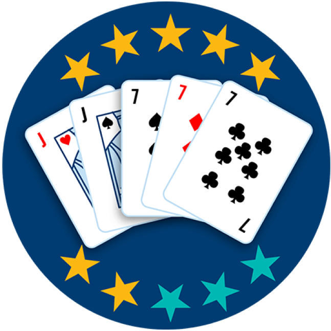 Five playing cards appear face up, showing the Jack of Hearts and the Jack of Spades, followed by the 7 of Spades, the 7 of Diamonds and the 7 of clubs. Seven out of 10 stars are highlighted, showing this hand ranks fourth highest overall.