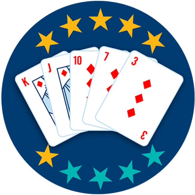 Five playing cards appear face up, showing the King, Jack, 10, 7 and 3 of Diamonds. Six out of 10 stars are highlighted, showing this hand ranks fifth highest overall.