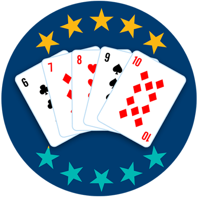 Five playing cards appear face up, showing the 6 of Clubs, 7 of Diamonds, 8 of Hearts, 9 of Spades and 10 of Diamonds. Five out of 10 stars are highlighted, showing this hand ranks fifth lowest overall.