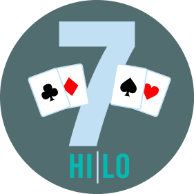 "The number ""7"" has two cards on each side. On the left is a card with clubs, then one with a diamond symbol. On the right is a card with a spade, then one with a heart symbol. On the bottom, it reads Hi/Lo."