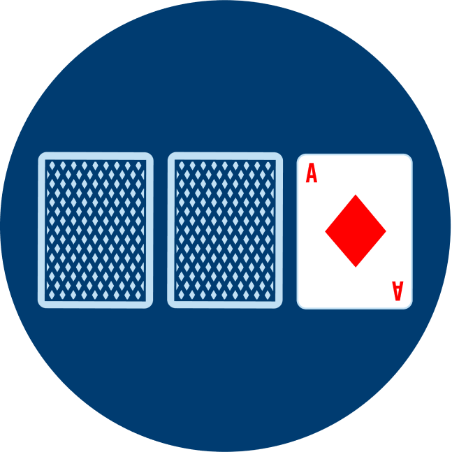 Two cards face down are shown, beside is an Ace of Diamonds.