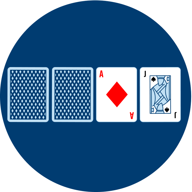 Two cards face down are shown, beside are the Ace of Diamonds and Jack of Spades.