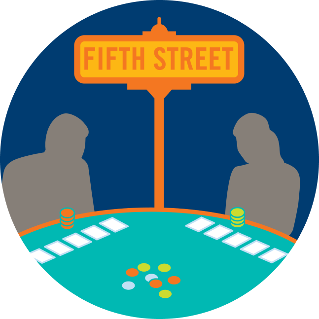 "A street sign that says ""Fifth Street"" stands in the middle of two players."
