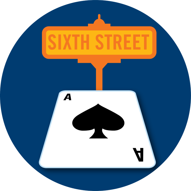 "A street sign that says ""Sixth Street"" pops out of an Ace of Spades card."