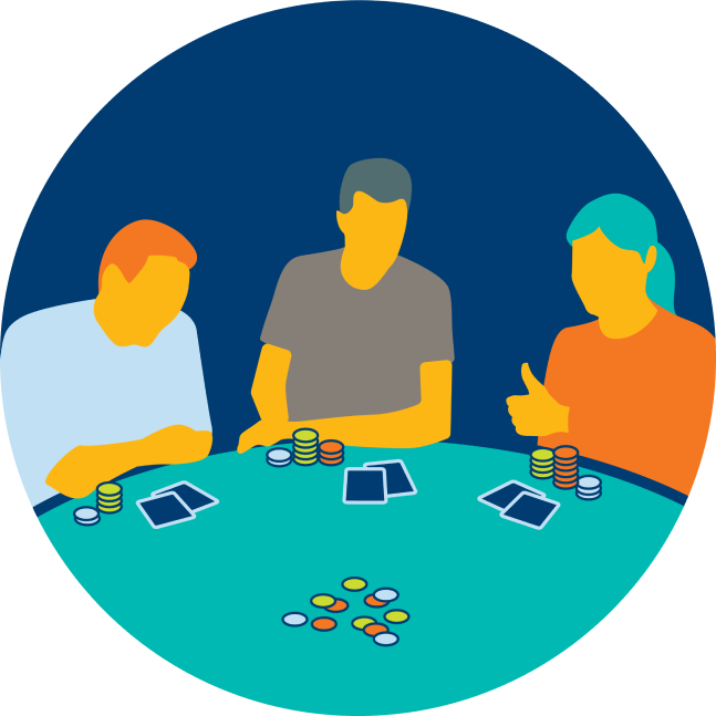 Three players sit in a circle. The right most player has their thumb up.