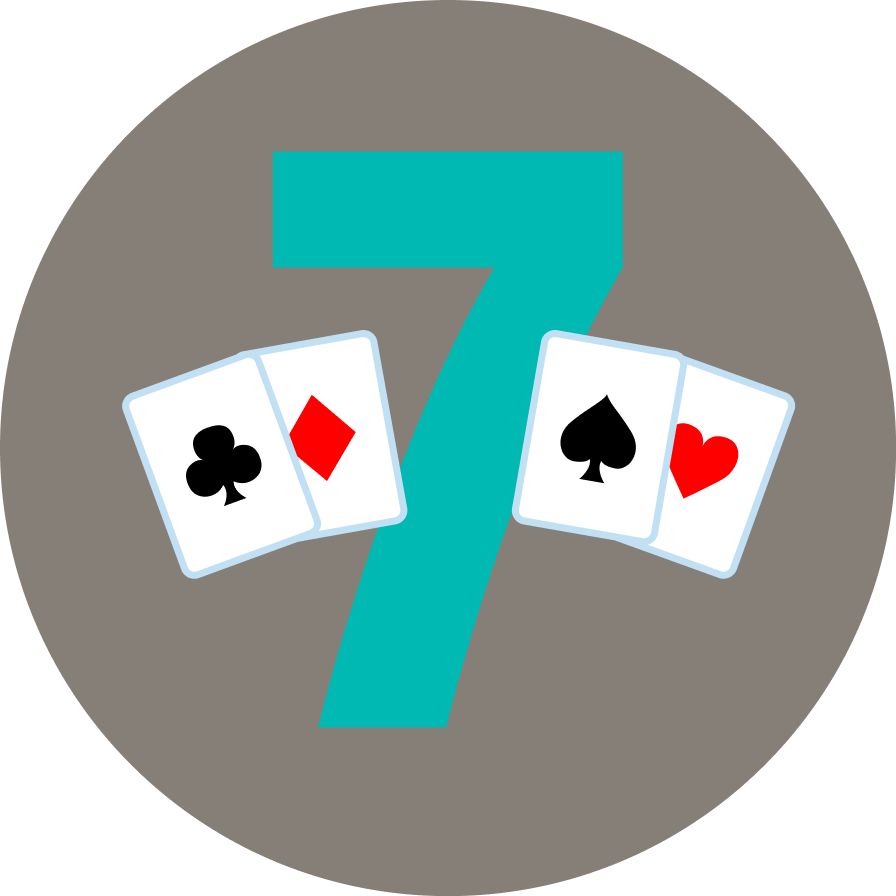 "The number ""7"" has two cards on each side. On the left is a card with clubs, then one with a diamond symbol. On the right is a card with a spade, then one with a heart symbol."