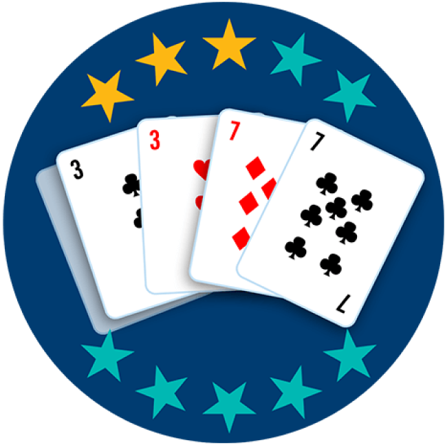 Four out of 5 playing cards appear face up, showing the 3 of clubs and the 3 of hearts alongside the 7 of diamonds and the 7 of clubs. Three out of 10 stars are highlighted, showing this hand ranks third lowest overall.