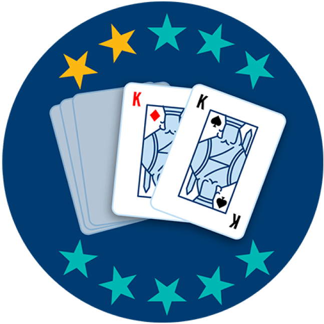 Two out of 5 playing cards appear face up, showing the King of Diamonds and the King of Spades. Two out of 10 stars are highlighted, showing this hand ranks second lowest overall.