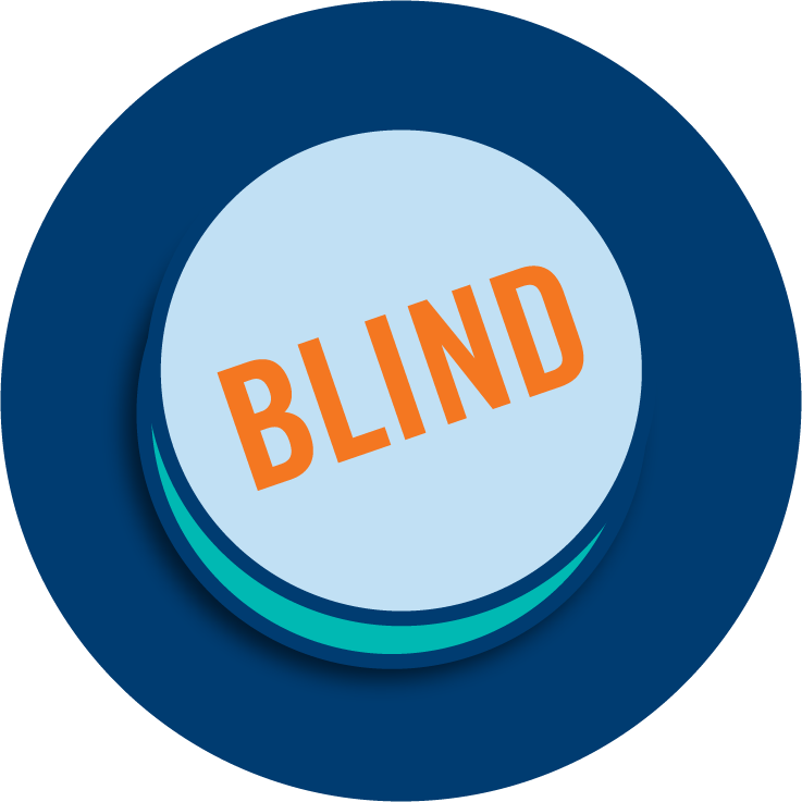 Un bouton sur lequel est inscrit « Blind ».