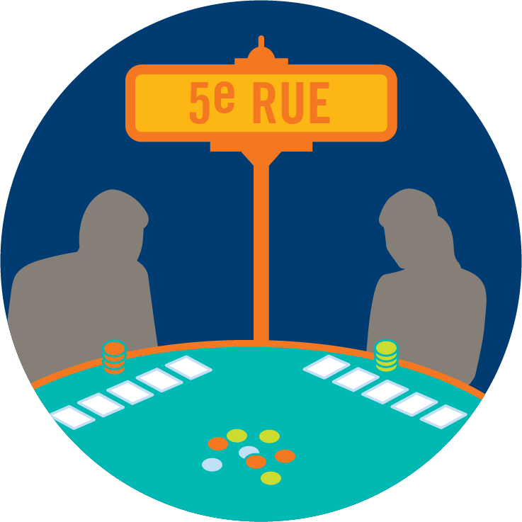 Une plaque de rue sur laquelle est indiqué « cinquième rue » entre deux joueurs.