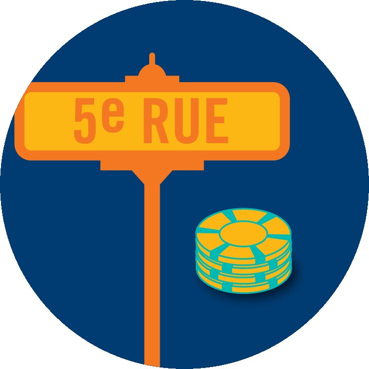Une plaque de rue indiquant « Cinquième rue » figure à côté d'une pile de jetons de poker.