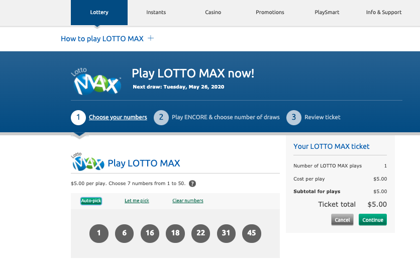 A PlayOLG screen prompting users to select their LOTTO MAX numbers.