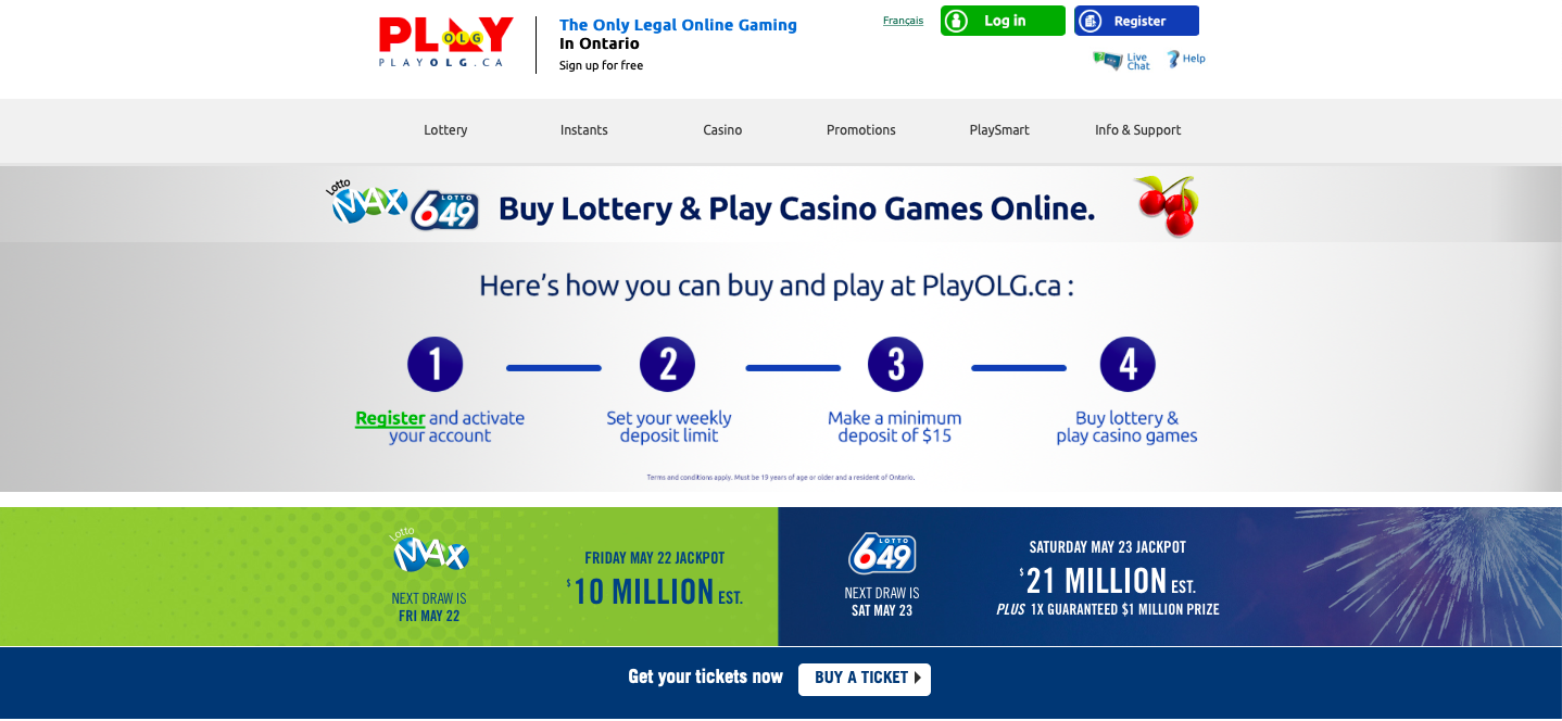 The PlayOLG home page, featuring steps on how to play the lottery online.