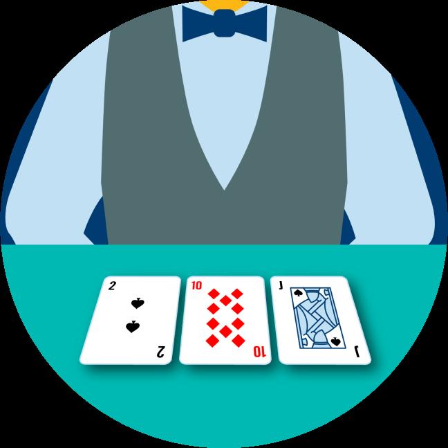 Trois cartes, face visible, sont devant le croupier : le 2 de pique, le 10 de carreau et le valet de pique.