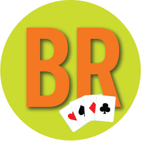 "Letters ""B & R"" have four cards in front of it with four cards each from a different suit."