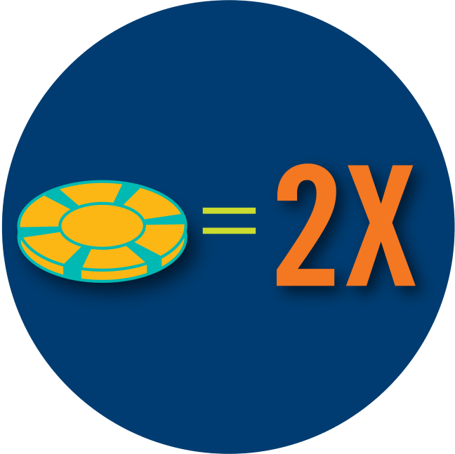 A poker chip is shown to be equal to two times.
