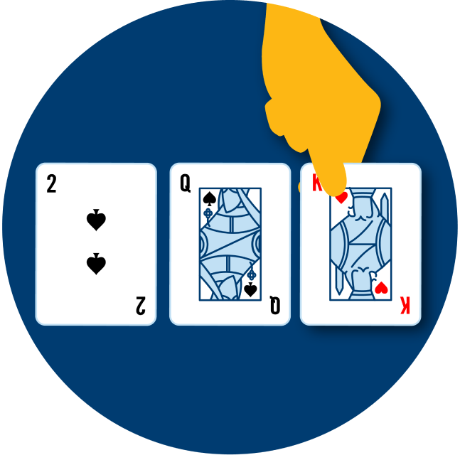 Three cards are shown face up: a 2 of spades, a Queen of Spades, a King of Hearts.