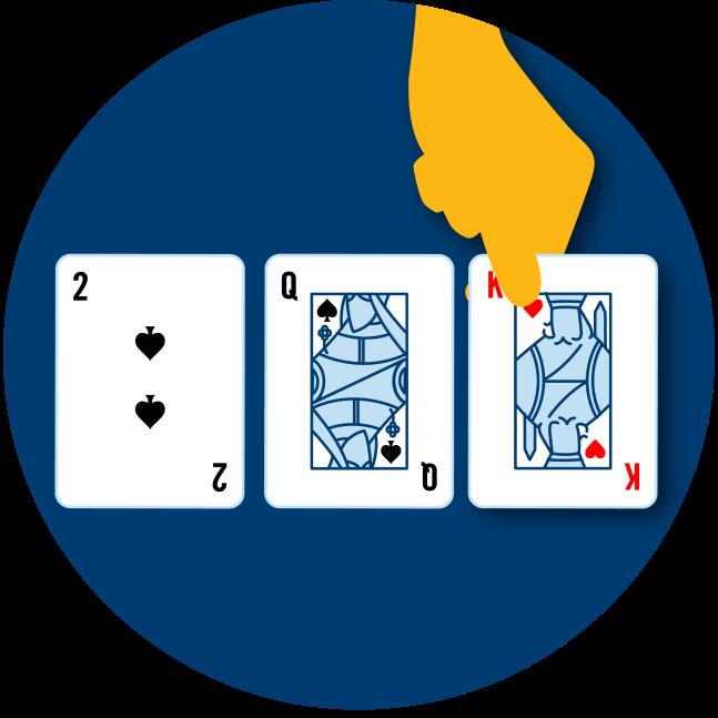 Trois cartes sont présentées face visible : le 2 de pique, la dame de pique et le roi de cœur.