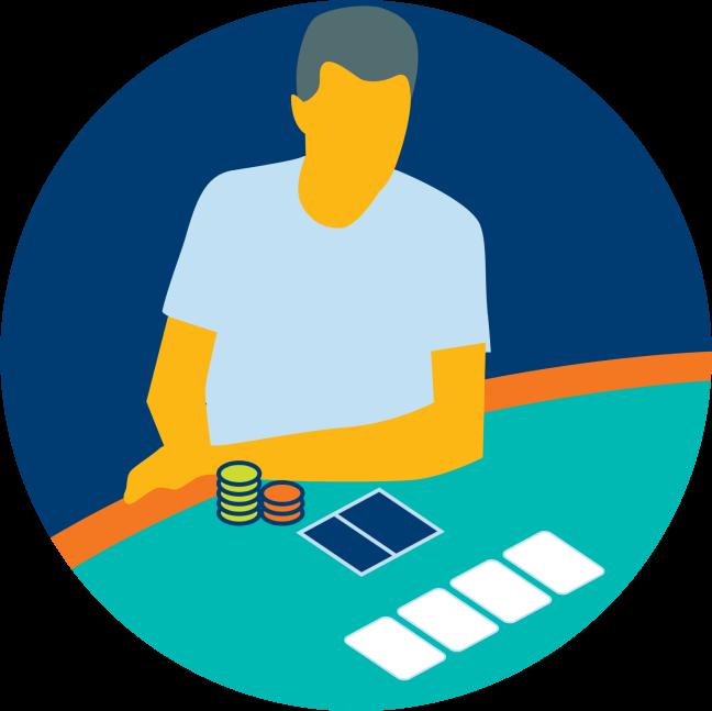 Un joueur apparaît avec deux piles de jetons de poker et deux cartes, face cachée. Il regarde quatre cartes, face visible, placées au centre de la table.
