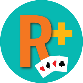 "A letter ""R"" has a plus sign in front of it with a card from every suit."