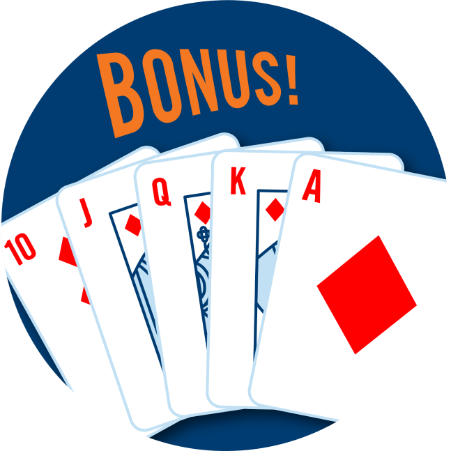 A royal flush is shown with a 10, Jack, Queen, King and an Ace of Diamonds with the word Bonus on top.