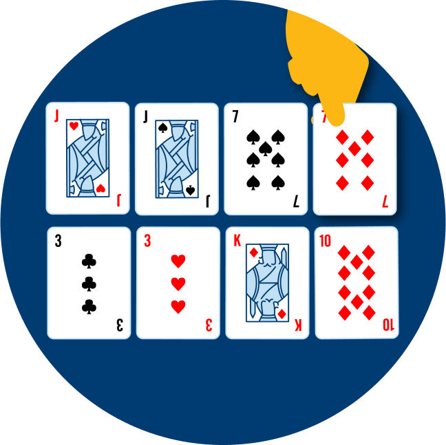 Two rows of cards are shown. The top row has: a Jack of Hearts, a Jack of Spades, a 7 of spades, a 7 of diamonds. The bottom row has a 3 of clubs, a 3 of hearts, a King of Diamonds and a 10 of diamonds.