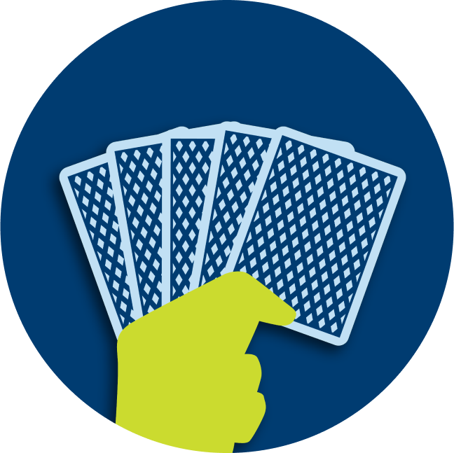A hand holds five cards.