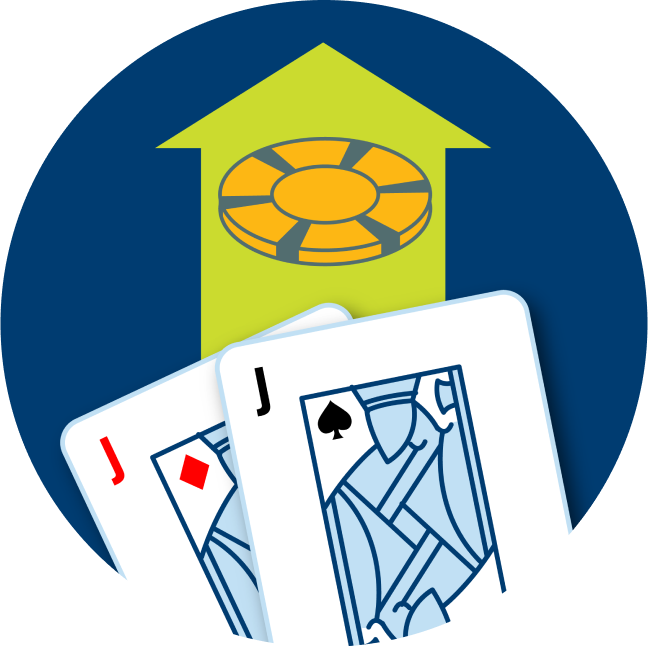 Two cards are shown: a Jack of Diamonds and a Jack of Spades. An arrow is shown with a poker chip.