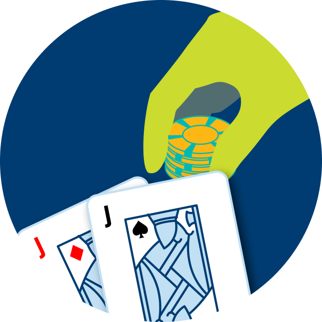 Two cards are shown: a Jack of Diamonds and a Jack of Spades. A hand is shown placing poker chips down.