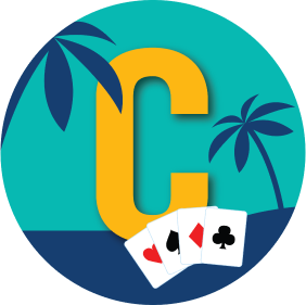 "A letter ""C"" has palm trees in the background with a card from every suit."
