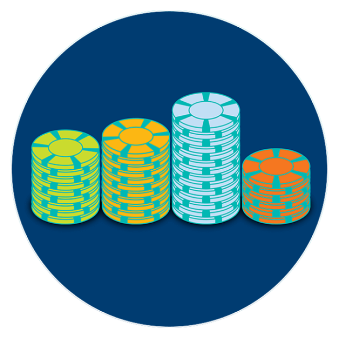Four stacks of poker chips at varying levels.