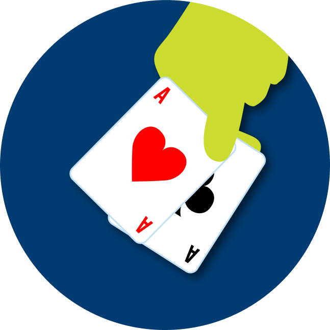 A hand hold a pair of Aces. One of the cards is the Ace of Hearts, the other is the Ace of Clubs.