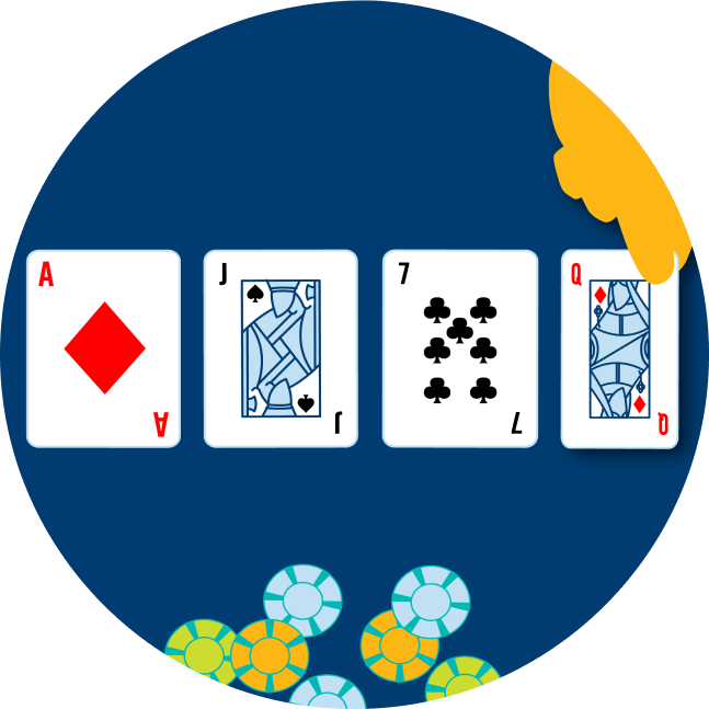 Four cards are shown face up, with a hand revealing the last one: an Ace of Diamonds, a Jack of Spades, a 7 of clubs and a Queen of Diamonds. Some poker chips are shown below it.