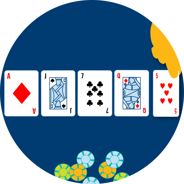 Five cards are shown face up, with a hand revealing the last one: an Ace of Diamonds, a Jack of Spades, a 7 of clubs, a Queen of Diamonds and a 5 of hearts. Some poker chips are shown below it.