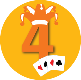 "The number ""4"" with a jester hat has four cards, each from a different suit."